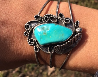 Vintage Turquoise and Sterling Silver Cuff