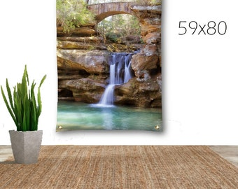 Waterfall Tapestry-Woodland Wall Decor-Canvas Tapestry-Photo Tapestry-Nature Wall Decor-Waterfall Wall Hanging-Art Tapestry-Outdoor Tapestry