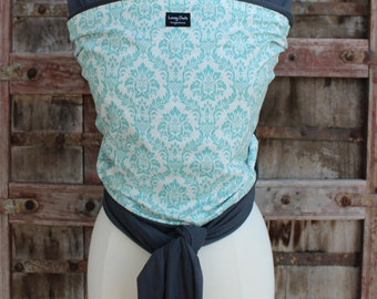 ORGANIC COTTON Baby Wrap Sling Carrier-Teal Damask on Gray-Newborn through Toddler- DvD Included