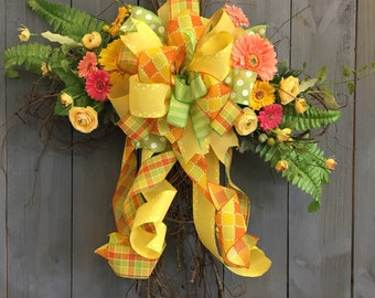 Spring, Summer, Easter Floral Cross Grapevine Wreath Doorhanger