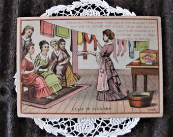 Vintage Advertising Victorian Card, Diamond Dyes