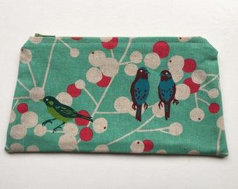 Cosmetic Bag pouch linen cotton canvas birds steel makeup bag