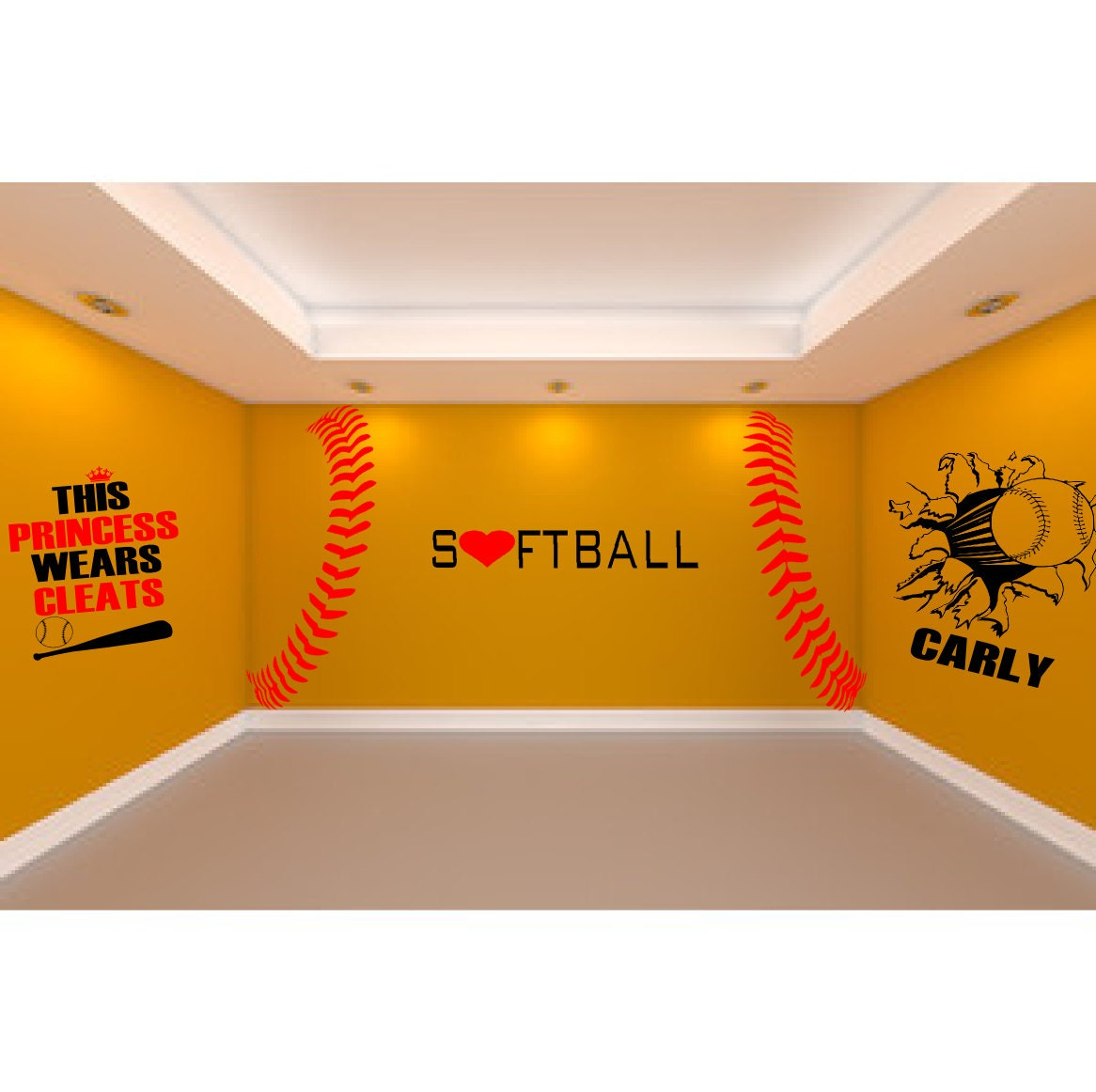 Ultimate Softball Room 5 large softball wall decals to create