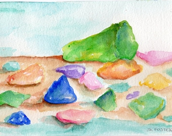 Original sea glass watercolor painting, 5 x 7  painting of beach glass in watercolors,  beach decor