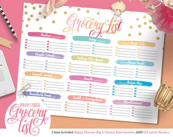 Colorful Grocery Shopping List    For Happy Planner   Erin Condren   U.S. Letter Binders   Instant Download