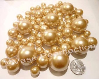 All Gold Pearls - Jumbo/Assorted Sizes Vase Fillers for Centerpieces