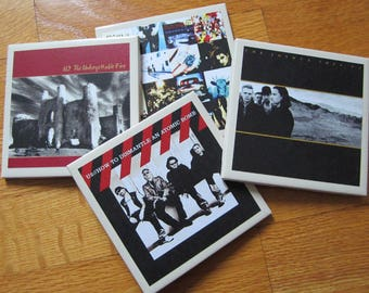U2 Rock n Roll Record Album Art  Tile Drink Coasters 4 Piece Set