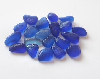 20 mini French cobalt sea glass / sea glass french