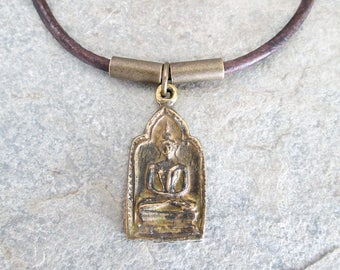Sitting Buddha Pendant - Bronze Buddha Necklace - Zen Buddhist Necklace - Brown Leather Tribal Necklace - Hindu Jewelry - Buddhism
