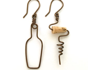 Wine Bottle and Cork Screw Earrings. Bronze Wine Earrings. Cork Jewelry. Wine Lovers Earrings