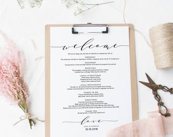 Welcome letter etsy welcome itinerary wedding guest welcome letter template printable wedding welcome letter template wedding thecheapjerseys Image collections