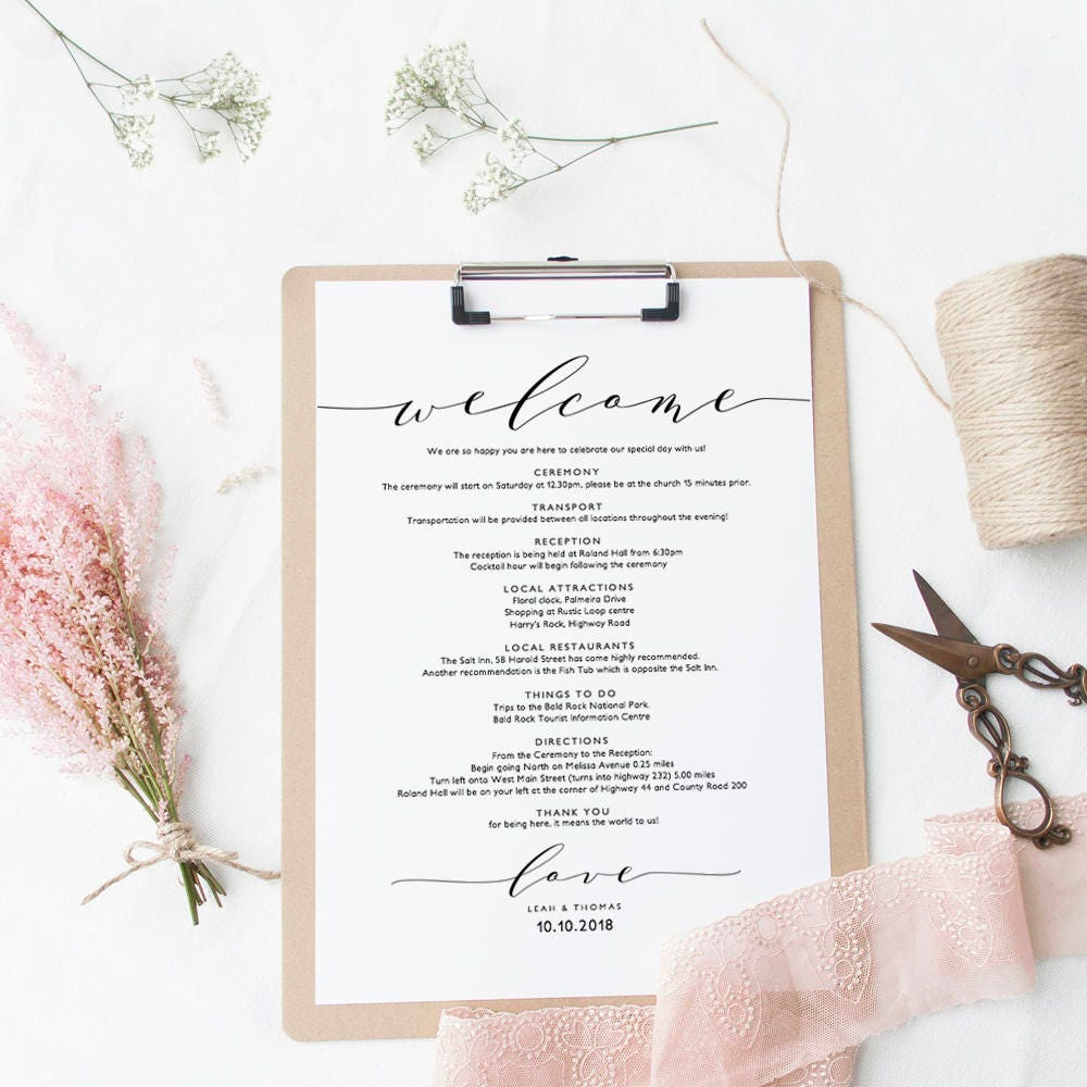 welcome itinerary wedding guest welcome letter template printable