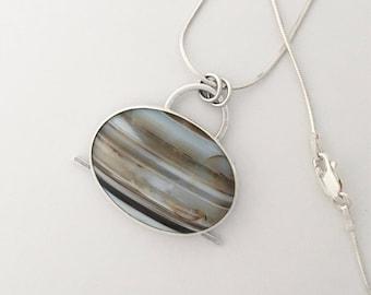 Sardonyx Agate Necklace, Pendant, Sterling Silver, Wandering Designs, Handmade, Art Jewelry, Silversmith, Gemstone, Fashion Jewelry
