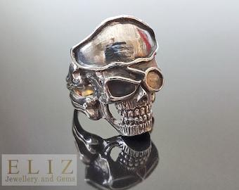 16.7 Gram Handmade Pirate  Skull Patch .925 Sterling Silver biker rocker goth Ring 10' 10.5' 11' 11.5'