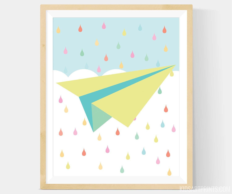 Rainbow Pastel Paper Airplane Nursery Art Paper Airplane Wall