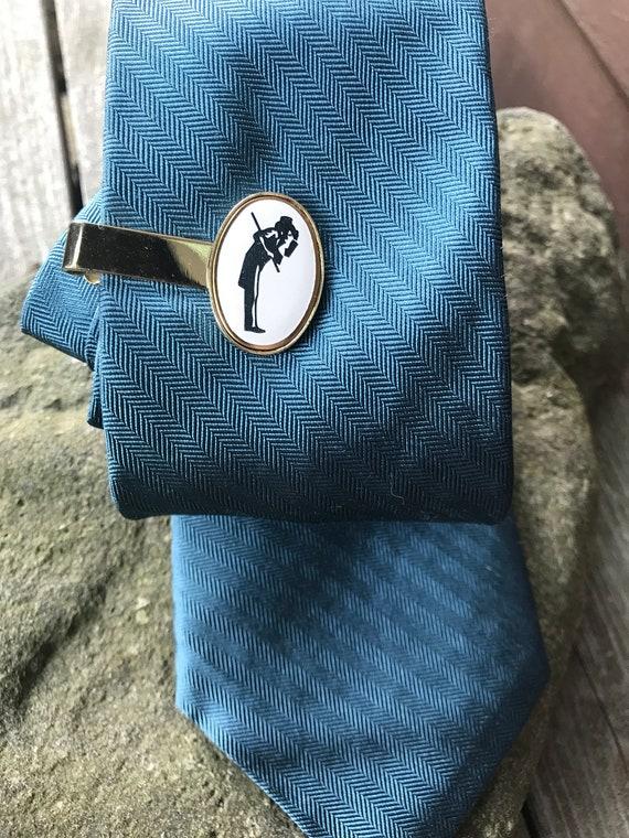 Dandy Gentleman Vintage goldtone Enameled Tie Clip