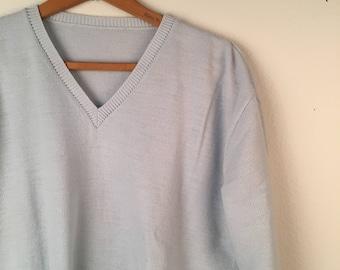 Baby Blue Pullover V Neck Sweater Pastel Pullover Jumper Large Women