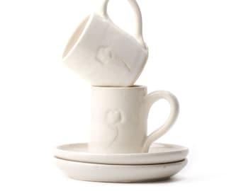 Handmade Ceramic Espresso, Coffee, Tea Cup & Saucer