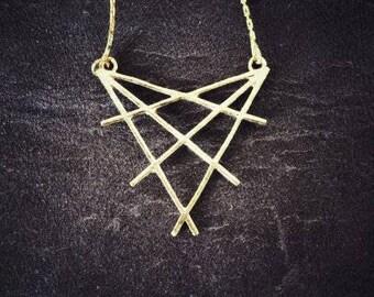 OriginalBrass Necklace Pendant Sacred Geometry Triangle Star