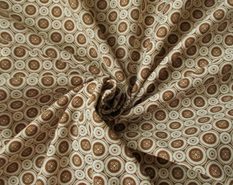 Vintage Polycotton Dress Fabric - 1960's/1970's - Warm brown & white circles - Priced by the metre - Unused