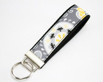 Fabric Key Fob, Key Chain, Key Ring, Key Holder, Wristlet Key Fob, Wristlet Keychain, Fabric Key fobs-Melancholy flowers