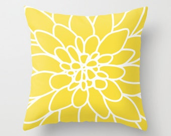 Dahlia Flower Pillow  - Modern Home Decor - By Aldari Home - Yellow and White Flower Pillow