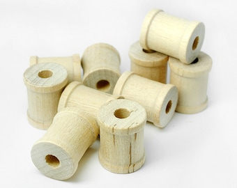 "50 Mini Wooden Spools, 3/4"" Tall by 5/8"" Wide , Tiny Wood Spools for Jewelry, Crafting"
