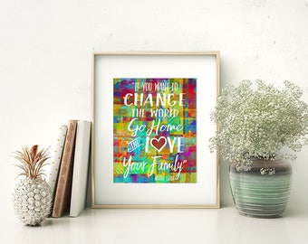 "Mother Teresa Quote Watercolor Style Modern Wall Art, Home Decor Print - ""If You Want to Change the World"" - Colorful, Whimsical & Bright"
