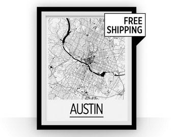 Austin Map Poster - usa Map Print - Art Deco Series