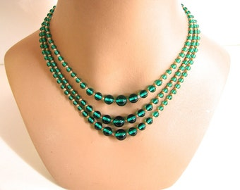 Vintage necklace 40s Necklace High End Green Glass Bead necklace with Sterling - on sale