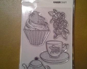 Tea Party Clear Stamp Set, Tea and Cupcakes, Kaiser Craft, NEW