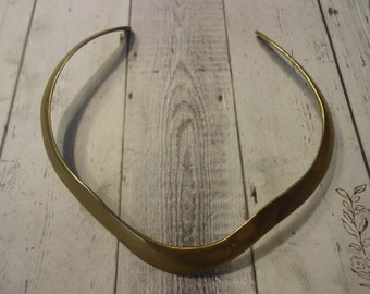 Vintage Brass Hard Collar Choker Necklace, Rustic Jewelry, Bohemian Style