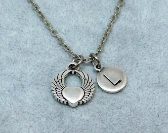 Winged Heart silver Initial necklace, silver initial necklace
