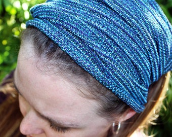 WIDE Boho Knit Headband, Purple Green Blue White Headband, Womens Headband, Yoga Headwrap, Dreadlock Headband, Dread Wrap, Womens Colors