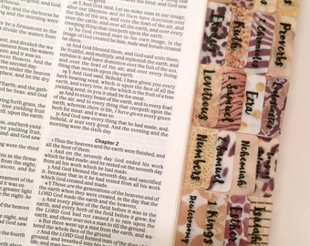 """CATHOLIC """"Animal Prints"""" Multi-Hued Books of Bible Tabs by Victoria Anderson"""