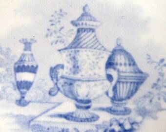 Antique 1840's Transferware Set Of 5 Bread Plates Blue And White Staffordshire, Antique Vases, Joseph Clementson
