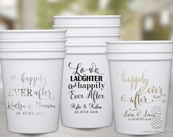 Personalized Cups | Monogram Cups | Custom Party Cups | Personalized Plastic Cups | Wedding Party Favor Cups | Bridal Party Cups