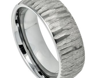 Custom - 8mm Tungsten Carbide Semi Domed Tree Bark Carved Textured  Wedding Band Ring for Men Or Women