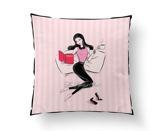 Fashion cushion cover, Throw pillow, pillow cover, home decor, art, girly pillow, book, decorative pillows, girl art, pink, coffee, vogue