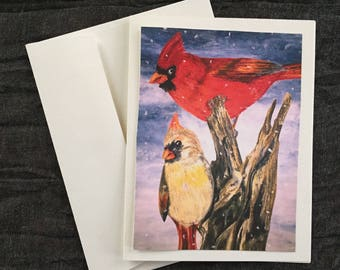 Winter Cardinals - Oil Pastel Fine Art Note Cards