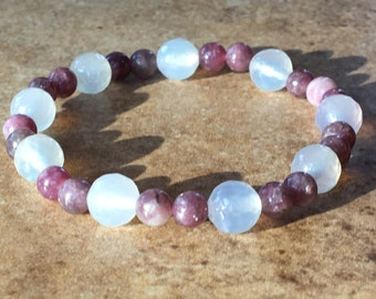 Lepidolite Bracelet/Anti-stress Stone/Yoga Bracelet Zen/Anxiety Gemstone/Mala Beads Zen/Faceted Clear Agate/Gypsy Pink Jewelry/Gift Men Girl