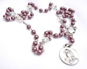 Seven Sorrows Iridescent Red Pearl and Crystal Chaplet