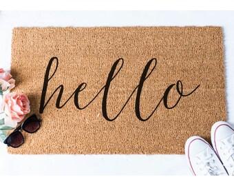 Hello Doormat - Welcome Mat - Cute Doormat - Unique Doormat - Hello Decor - Doormats - Hello Mat - Unique Doormat - Outdoor Doormat - Rug