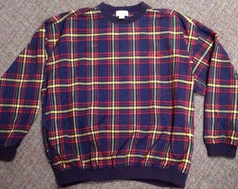 Vintage Men's Plaid Nylon Sweatshirt Made By Izod Size XL