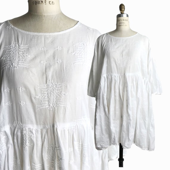 IVAN GRUNDAHL Embroidered White Cotton Coverup Dress / Oversized - Dk 38 / US 8