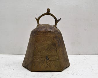 Chinese Antique Brass Bell Gong Yoga Statue Meditation Space Large Metaphysical; FREE SHIPPING U.S.A.