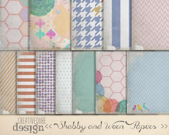 "Digital Paper Pack - Shabby and worn - 12"" x 12"" for Background, Scrapbooking, Instant Download"