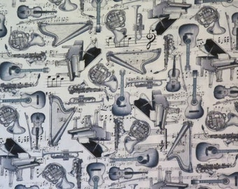 Black & Gray Ivory Tossed Musical Instrument Print Pure Cotton Fabric--By the Yard
