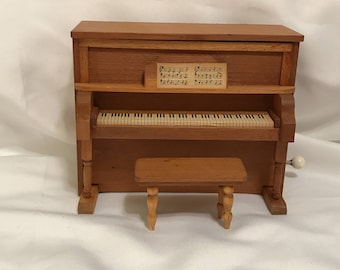 "Dollhouse Miniature 1"" Scale Music Box Piano With Stool"