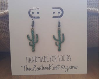 Cactus Earrings, Green and Bronze, Succulents, Desert Style, Saguaro Cactus, AZ, Arizona Earrings, Gift Earrings